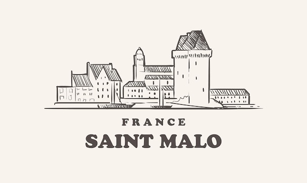 Saint malo skyline illustration design