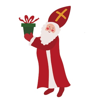 聖ニコラスシンタークラースオランダのサンタの老人、赤いマントルのひげと贈り物のマイター