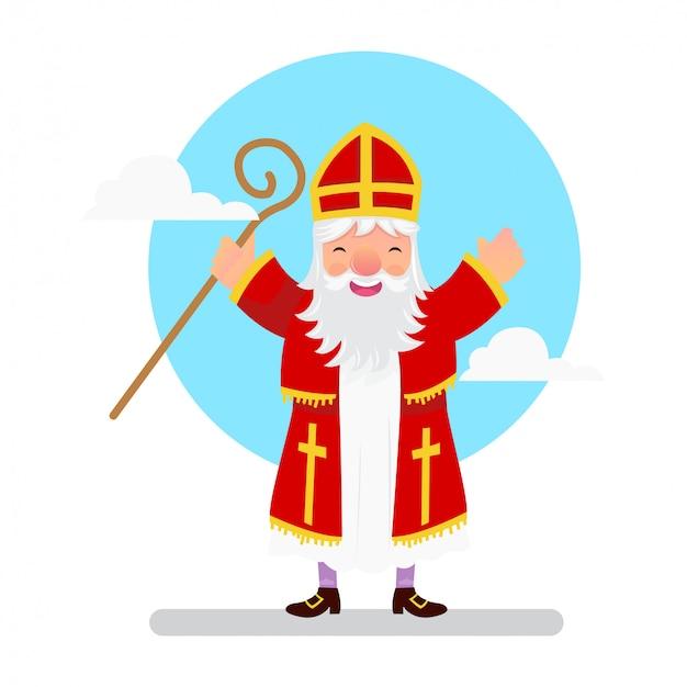 聖ニコラスが立って手に魔法の杖を握る