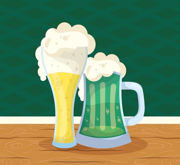 聖パトリックのお祝いビールグリーンジャーとガラス