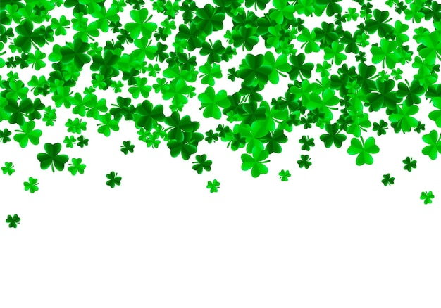 Saint patrick day background with green bright leaves of trefoil clover