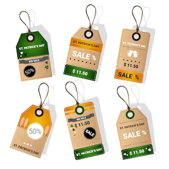 Saint patrick day beer festival special offer tags set