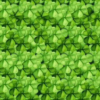 聖パトリックの日グリーンクローバーのシームレスなパターン背景