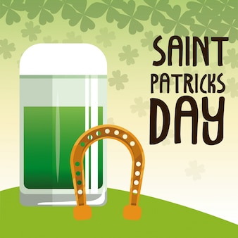 Saint patrick day green glass beer with horseshoe poster