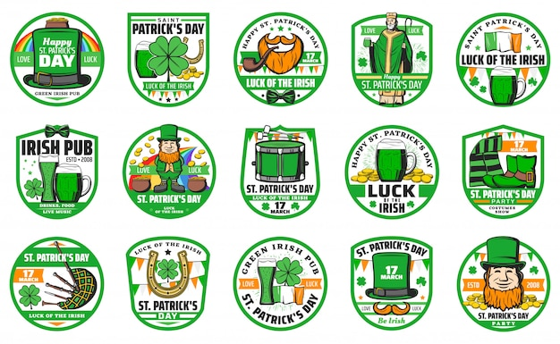 Saint patrick day and irish holiday badge set