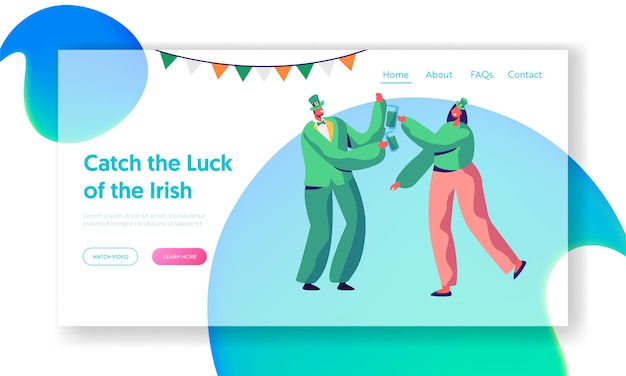 Saint patrick day joyful irish party landing page. young couple drink beer. merry reveller celebrate holiday wear traditional green costume website or web page. flat cartoon vector illustration