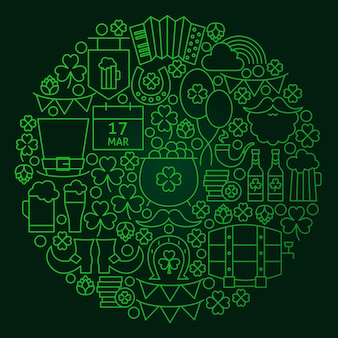 Saint patrick day line concept. vector illustration of spring irish holiday objects.