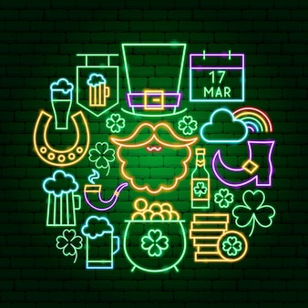 Saint patrick day neon concept. vector illustration of holiday promotion.