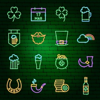 Saint patrick day neon icons. vector illustration of holiday promotion.