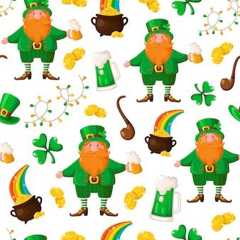 聖パトリックの日のシームレスパターン-漫画レプラコーンとビールカップ、シャムロック、ガーランド、コイン