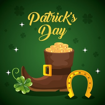 Saint patrick day with boot and decoration