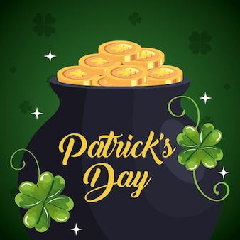 Saint patrick day with cauldron and clovers