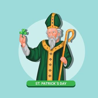 3月の聖パトリックの日の聖パトリックフィギュアシンボルのお祝い。漫画イラストのコンセプト