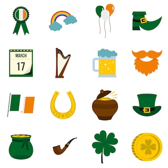 Saint patrick icons set in flat style