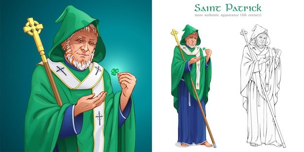 Saint patrick patron of ireland holds the staff with a celtic cross and looks at the shamrock