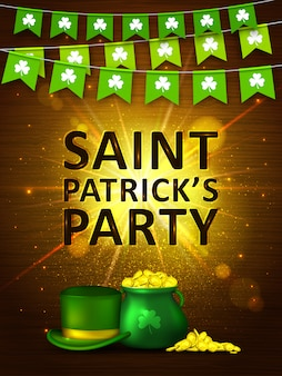Saint patrick's day background. colorful garlands flags with clover, coins and green hat. holiday banner