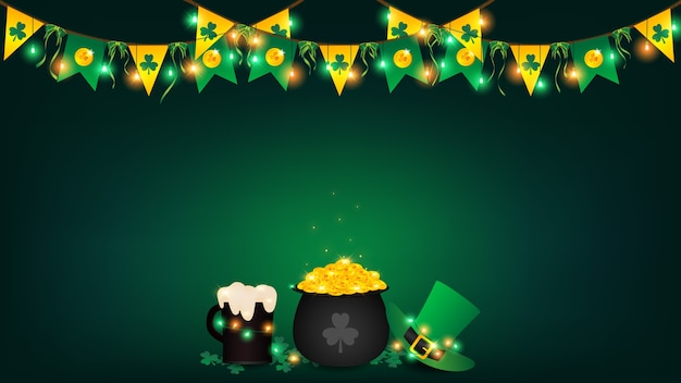 Saint patrick's day background included bunting and hanging string lights.