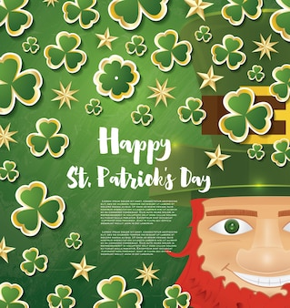 Saint patrick's day background with clover leaves, golden stars and leprechaun. vector illustration.