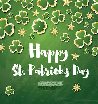 Saint patrick's day background with clover leaves and golden stars. vector illustration.