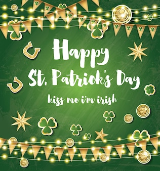Saint patrick's day background with clover leaves, neon lights and golden stars. vector illustration.