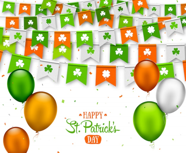 Saint patrick s day banner. garlands and balloons