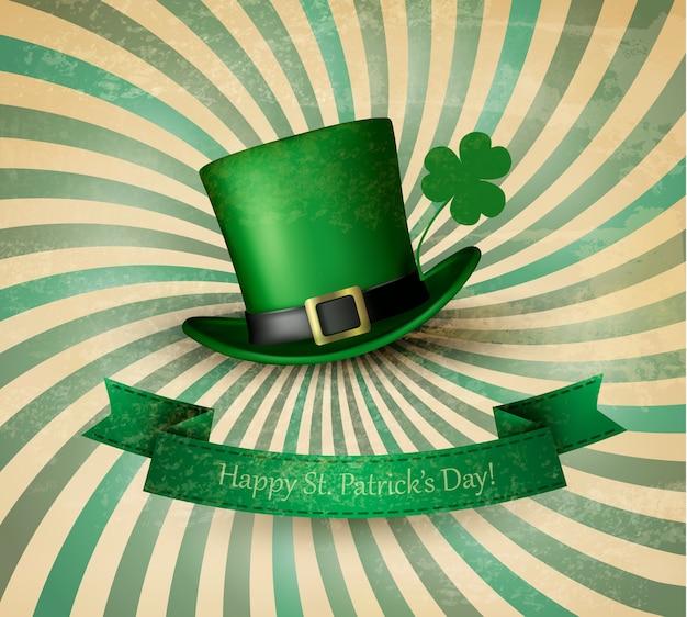 정향 잎과 녹색 모자와 함께 성 패트릭의 날 카드