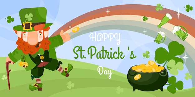 Saint patrick's day card with flat leprechaun with coins in pot