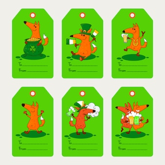 Saint patrick's day card with foxes and irish simbols