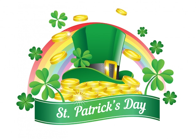 Saint patrick's day design with hat in the top of coins pile