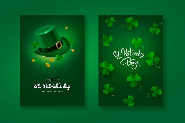 녹색 배경에 모자와 클로버 잎 성 패트릭의 날 디자인
