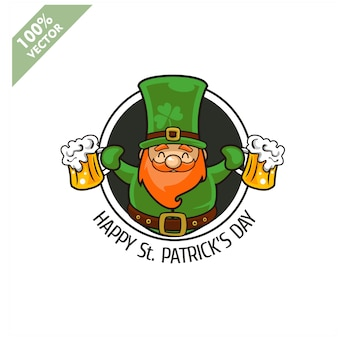 Saint patrick's day. funny leprechaun on circle