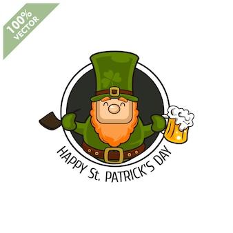 Saint patrick's day. funny leprechaun on circle