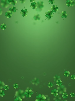 Saint patrick s day greetings card with clover shapes.