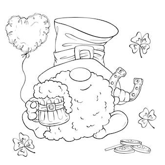 聖パトリックの日の休日セット、かわいい漫画のノーム、レプラコーン。図。