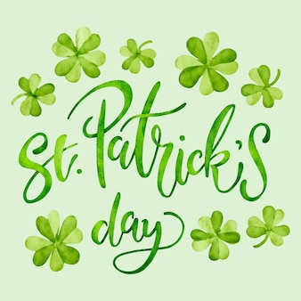 Saint patrick's day lettering with clover