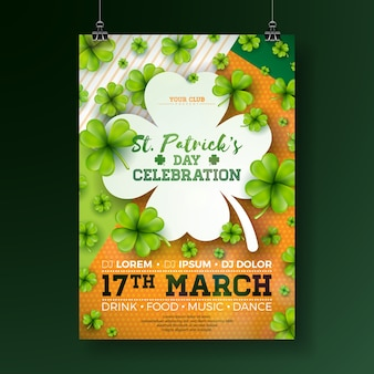Saint patrick's day party flyer illustration with clover and typography