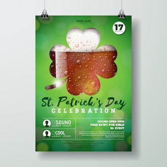 Saint patrick's day party flyer illustration with fresh dark beer in clover silhouette