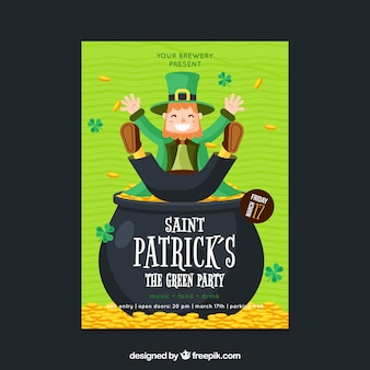 Saint patrick's day party poster in flat style
