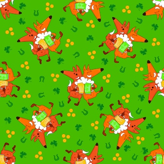 Saint patrick's day patterns with foxes and irish simbols