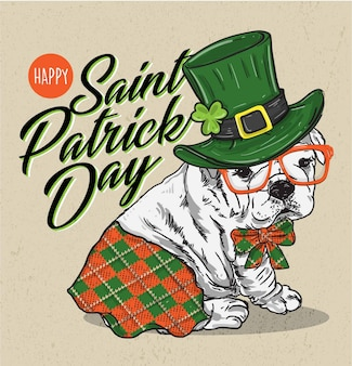 Saint patrick's day poster with adorable puppy