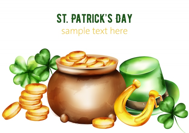 Saint patrick's day watercolor ceramic pot with gold coins. green hat, shamrock and horseshoe