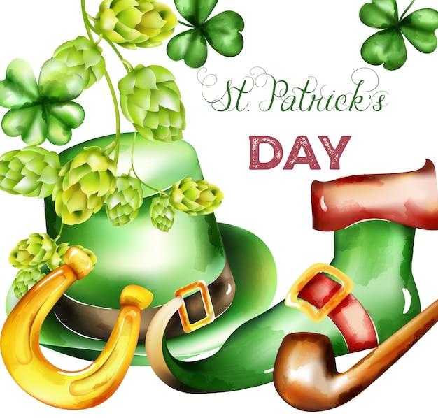 Saint patrick's day watercolor green hat, shamrock sprig, artichoke, horseshoe and elf boots