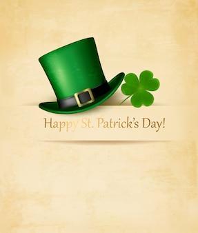 정향 잎과 녹색 모자와 함께 성 패트릭의 날