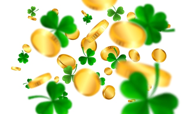 Saint patrick's day with green four and tree leaf clovers and gold coins. irish lucky and success symbols.