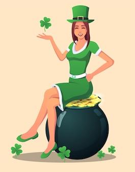 緑に身を包み、金の鉢のイラストに座っている聖パトリックの日の女性