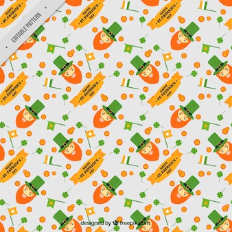 Saint patrick's decorative pattern with elves and flags
