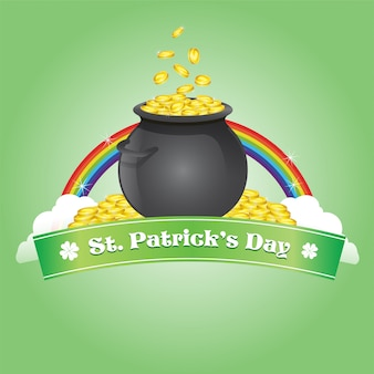 Saint patrick's with bowl of coin and rainbow