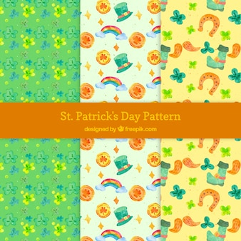 Saint patrick watercolor elements pattern