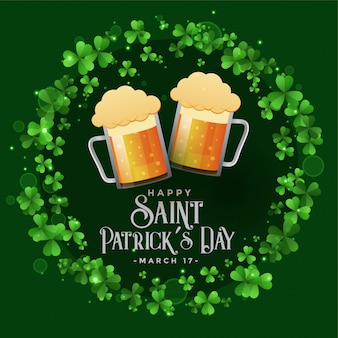Saint patricks celebration patry with beer mugs background