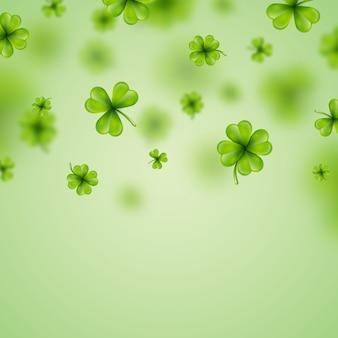 サン・パトリックスの日の背景のデザイン落ちるクローバーの葉の背景アイルランドの休日